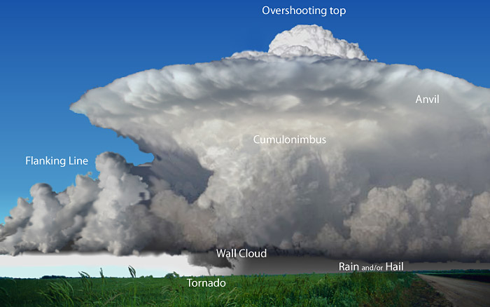 Diagram of a supercell with features labeled
