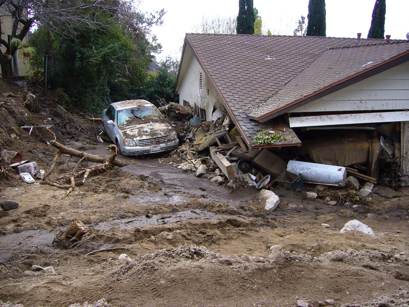 Debris flow damage