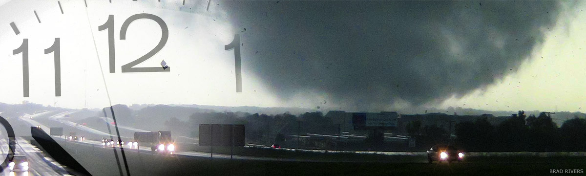 image of tornado and clock